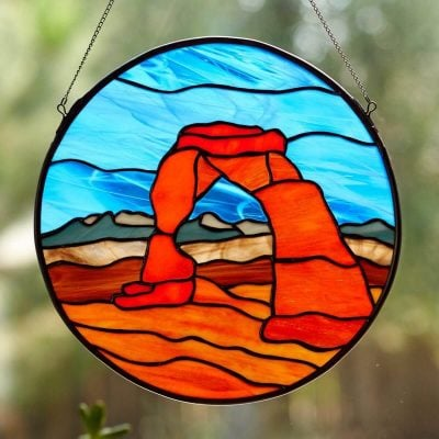 Stained Glass Delicate Arch Window Panel