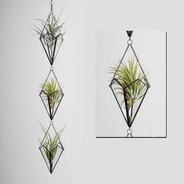 Stained Glass Hanging Triple Air Plant Holder