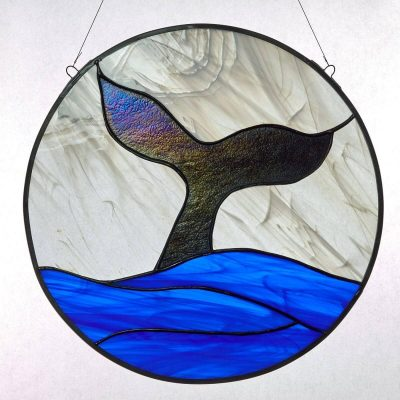 Stained Glass Whale Window Panel